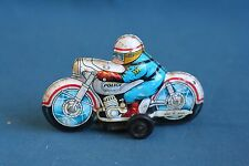 Vintage 1960's police Motorcycle Friction Tin Toy JAPAN Rubber Wheels