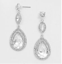 "2.25"" Long Silver Clear White Bridal Dangle Austrian Crystal Pageant Earrings"