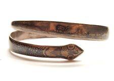 Vintage 925 Plata Siam Esmalte Serpiente Serpiente paisaje Wrap Brazalete Pulsera 38.6g