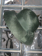LAURA ASHLEY VINTAGE SPRUCE GREEN SUMMER STRAW HAT WITH RIBBON & BOW, ONE SIZE