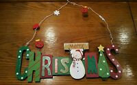 Merry Christmas Wooden Hanging Holiday Wall Decor Snowman