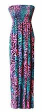 New Womens Ladies Printed Boob Tube Stretch Sheering Maxi Plus Size Dress 8-26