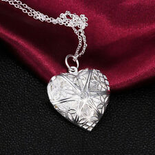 Silver love heart valentine necklace pendant lover locket chain gift New