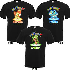 Pokemon X and Y Fennekin Chespin Froakie Shirt Movie Anime Adult T-Shirt S-2XL