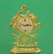 Dolls House Miniature  Gold Mantle Clock    in 12th scale