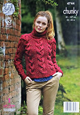 KNITTING PATTERN Ladies Long Sleeve Polo Neck Cable Jumper Chunky 4744 King Cole