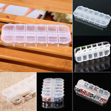 12 Compartment Empty Plastic Storage Box Rhinestones Nail Art Jewelry Container