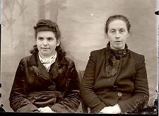 Portrait identité deux femmes - négatif photo ancien an. 1930 40