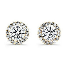 2 ct. Simulated Diamond Halo Stud Earrings ~ Yellow Gold over Sterling Silver