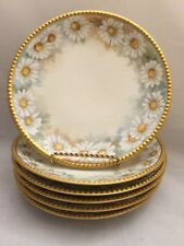 Set of 6 Vintage Limoges JPL France Porcelain Hand Painted Daisies Plates