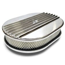 "12"" Oval Half Finned Polished Aluminum Classic Nostalgia Air Cleaner Fits Chevy"