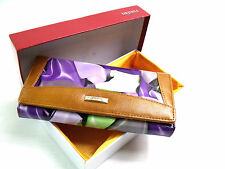 LADIES WOMENS QUALITY TAN PURPLE LARGE COIN PURSE CLUTCH BAG EVENING PARTY BOXED