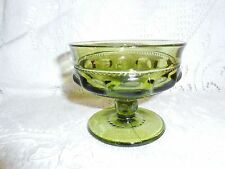 Indiana Glass Co King's Crown Thmbprint Green Sherbet/Dessert Dish