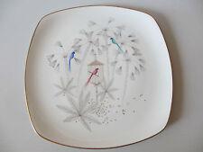 Platte Kuchenplatte Teller 30x30cm Rosenthal Selb Plössberg Vögel Palmen 1950er