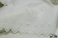 "3Yds Broderie Anglaise cotton eyelet lace trim 3.5""(9cm) white YH440 laceking"