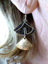 VTG-Sterling Silver Wire w/Two Tone Metal Artisan Dangle Earrings