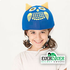 Blue owl kid helmet covers for skiing, snowboarding, scootering, cycling
