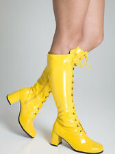 Yellow Boots - Womens Retro GoGo Knee High Lace up Eyelet Boots - Size 6 UK EU39