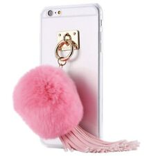 Luxury Rabbit Warm Fur Ball Tassels Ring Clear Slim Back Case Cover For iPhone