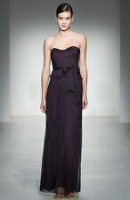 Amsale Crinkled Silk Chiffon Peplum Gown Dress Purple Ink Size 12