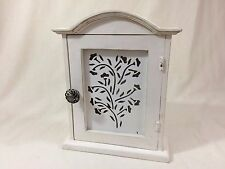 Shabby Chic Wall Mount Key Box Distressed White Wood & Metal Tree Vine Motif