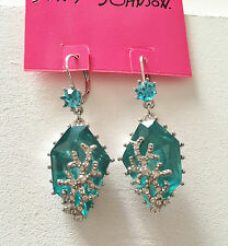 NWT Rare Betsey Johnson Blue Turquoise drop Dangle Earrings crystal coral