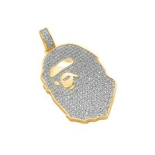 14k Gold Plated Custom Iced Out Bling Lab Diamond Micro Ape Pendant Chain