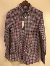 NWT Uniqlo EFC Broadcloth red & blue check button-front shirt (size: S)