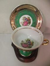 Vintage Royal Vienna Demitasse Cup & Saucer Gold Encrusted Green Romantic Couple