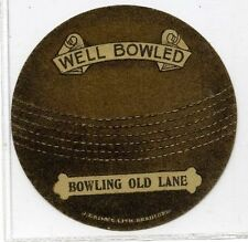 (Gn027-100) J.Baines Cricket Ball card, BOWLING OLD LANE, Brown 1921 EX