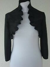 Ladies Evening Satin Bolero Ruffle Jacket Three Quarter Length Sleeve Size 8-20