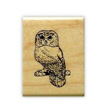 SAW WHET OWL mounted bird rubber stamp #9