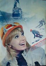 IBERIA VINTAGE 1970 TRAVEL poster SPAIN AIRLINES SKIING 26x38