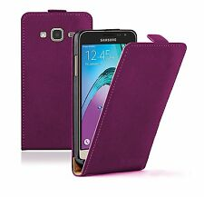SLIM PURPLE Leather Flip Case Cover For Mobile Phone Samsung Galaxy J3 2016