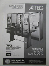 11/1974 PUB AEROSPATIALE ELECTRONIQUE ATEC DC-10 PIA UTA AIRLINES FRENCH AD