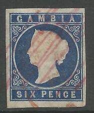Gambie. 1874. 6d Foncé Bleu. Filigrane Couronne CC. SG: 7. Fin D'occasion
