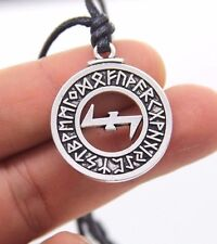 Pewter Wolfsangel Rune Pendant For Positive ENERGY Necklace WICCA Pagan Jewelry