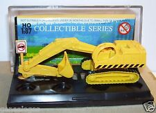 MICRO SMART TOYS HO 1/87 EXCAVATOR PELLE MECANIQUE JAUNE KEEP CLEAR IN BOX