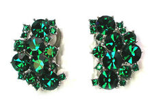 Clip On Earrings Stunning Emerald Color Green Rhinestone Crystal