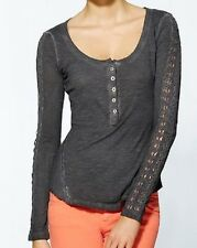 FREE PEOPLE Washed Black Top w/Stitch Lace Sleeves, XS - MSRP $68