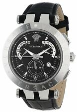 Versace Mens V-Race 23C99D008 S009 Chronograph Date Black Leather 3 Rings Watch