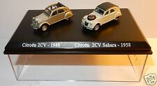 COFFRET ATLAS DUO 2 METAL UH CITROEN 2CV 1949 GRISE SAHARA 4X4 1958 HO 1/87