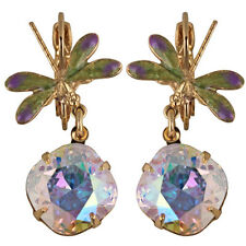 NEW KIRKS FOLLY DEW DROP DRAGONFLY LEVERBACK EARRINGS  GT/ CRYSTAL AB