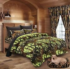 7 PC THE WOODS QUEEN LIME CAMO COMFORTER BLACK SHEETS PILLOW CASES CAMOUFLAGE