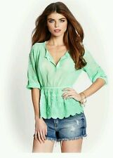 GUESS GREEN THREE-QUARTER SLEEVE EMBROIDERED PEASANT TOP SZ: SMALL