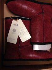 PEGIA Woolmark Double face Sheepskin Boots Women Girls Size 3 Fur Lined Leather