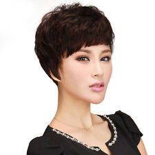 2016 Fashion Womens Curly Wavy Short Brown Wigs Full Wig Natural Synthetic Wigs