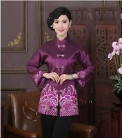 purple Chinese  Women's embroidery silk/satin evening coat Jacket m-2xl