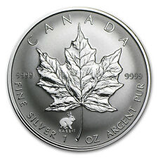 1999 1 oz Silver Canadian Maple Leaf Coin - Lunar Year of the Rabbit Privy Mark