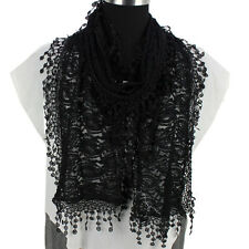 Fashion Women Solid Color Crochet Paisley Floral Lace Tassel Soft Long Scarf New